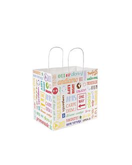 """sos bags with handles """"traiteur"""" 'parole' 80 gsm 26+17x24 cm white cellulose (250 unit)"""