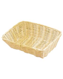 cestas sÍmil mimbre rectangulares 25x18,5x7,5 cm natural pp (12 unid.)