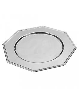 plato presentaciÓn octogonal Ø 30 cm plateado inox (1 unid.)