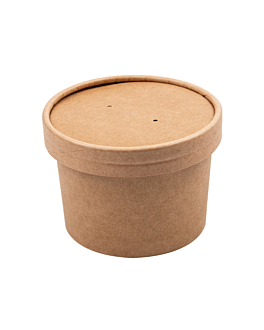 recipientes com tampas 240 ml 340 + 18 pe g/m2 Ø9/7,5x6 cm natural kraft (250 unidade)