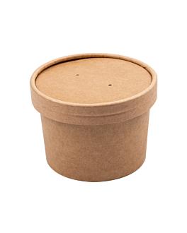 containers + lids 240 ml 340 + 18 pe gsm Ø9/7,5x6 cm natural kraft (250 unit)