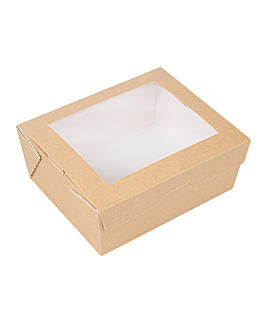 scatole con finestra 'thepack' 1350 ml 220 g/m2 + opp 15,3x12,1x6,4 cm naturale cartone ondulato a nano-micro (200 unitÀ)