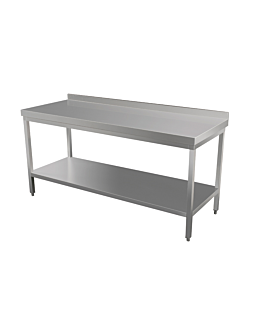working table with backsplash 2 levels 120x70x90 cm silver stainless steel (1 unit)