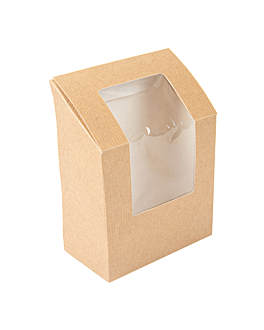 """""""tortilla"""" boxes with window 'thepack' 220 gsm + opp 9,2x5,1x9,2/12,5 cm natural nano-micro corrugated cardboard (600 unit)"""