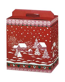 """30 u. cajas botellas/otros """"snow"""" 33x25x35 cm rojo cartÓn (1 unid.)"""