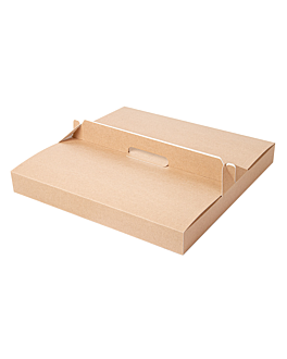 boxes with handle 'thepack' 330 gsm 32x32x3,8 cm natural microchannel corrugated cardboard (100 unit)