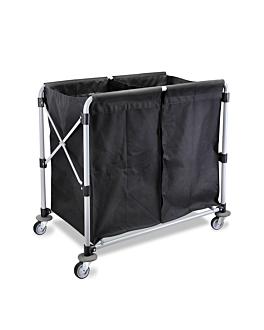 carro plegable para lavanderÍa 97x58x86 cm negro acero (1 unid.)