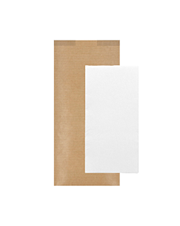 wrapped white napkins 'd.point' 40x32 cm 'just in time closed' 40 + 10pe gsm 11x25 cm natural kraft ribbed (300 unit)