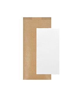 serviettes blanches emb. 'd.point' 40x32 cm 'just in time closed' 40 + 10pe g/m2 11x25 cm naturel kraft vergÉ (300 unitÉ)