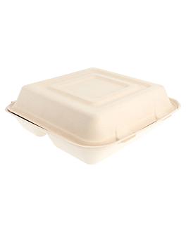 """caixas """"l"""" 3 compart. 'bionic' 25x25x7,5 cm natural bagaÇo (250 unidade)"""