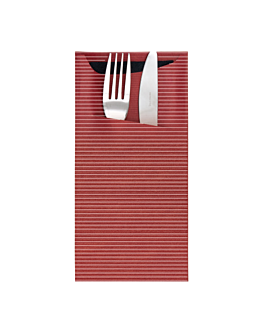 cutlery sachets + napkin 'just in time' 80 + 10pe gsm + (17gsm) 11,2x22,5 cm burgundy kraft ribbed (400 unit)