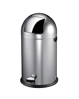 poubelle push avec pÉdale 40 l Ø 38x74 cm argente inox (1 unitÉ)