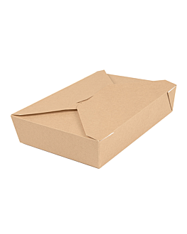 microwavable boxes rectangular 'thepack' 1470 ml 220 + 12pp gsm 19,6x14x4,5 cm natural nano-micro corrugated cardboard (300 unit)