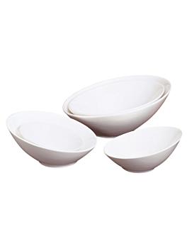 bols irrÉguliers 1100 ml Ø 25,5x11,5 cm blanc porcelaine (2 unitÉ)