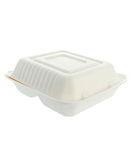 "caixas ""m"" 3 compart. 'bionic' 20x20x7,5 cm branco bagaÇo (200 unidade)"