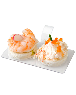 18 u. bases aperitivos rectangulares con asa 10x5,5 cm transparente ps (72 unid.)