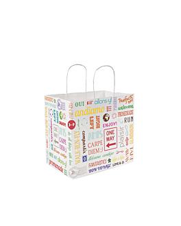 """sacos sos com asas """"gourmet"""" 'parole' 90 g/m2 26+20x27 cm branco celulose (250 unidade)"""