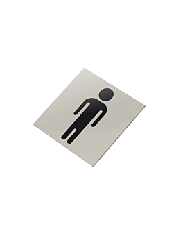 placa autoadhesiva - caballeros wc 12,5x12,5 cm plateado inox (1 unid.)