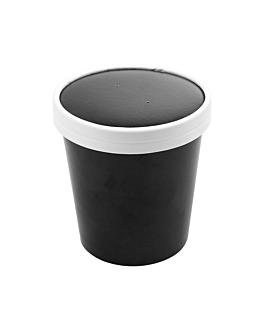 containers + lids 480 ml 18pe + 340 + 18 pe gsm Ø9,6/7,5x10 cm black cardboard (250 unit)