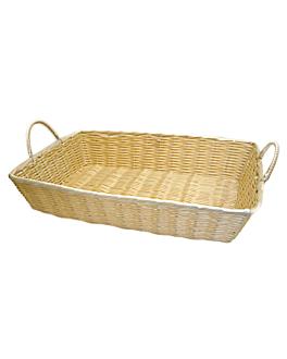 cestas sÍmil mimbre rectangulares con asas 48x35x10 cm natural pp (12 unid.)