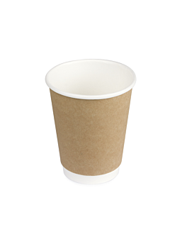 double wall cups 300 ml 260 + 250 + 18 pe g/m2 Ø9/6x9,5 cm brown cardboard (1000 unit)