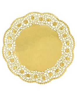 rundes zierdeckchen metallisiert 40 g/m2 + 20 g/m2 Ø 27 cm goldfarben lithographie metallisiert (100 einheit)