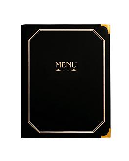 porte menu 8 pochettes din-a4 25,5x33 cm noir pvc (1 unitÉ)