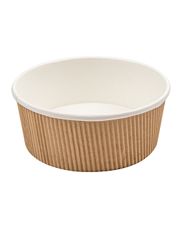 double wall ripple cups 780 ml 280 + 250 + 18pe gsm Ø15/12,8x6 cm brown cardboard (250 unit)