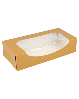 sushi boxes+window 300 gsm 20x9x4,5 cm brown cardboard (400 unit)