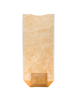 sachets con base y ventana pp 12x26 cm natural kraft (100 unid.)