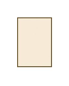 foglie per porta-menu, bordo marrone 130 g/m2 15,3x21 cm avorio cartone (100 unitÀ)