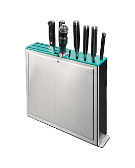rack for knives 10 slots 32x7x31 cm silver stainless steel (1 unit)