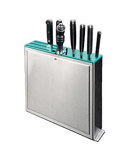 rack pour couteaux 10 entrÉes 32x7x31 cm argente inox (1 unitÉ)