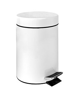 pedal bin with interior receptacle 20 l Ø 29,5x44 cm white steel (1 unit)