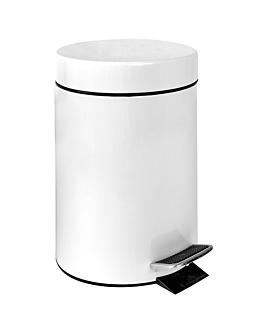 poubelle À pedale avec rÉceptacle intÉrieur 20 l Ø 29,5x44 cm blanc acier (1 unitÉ)