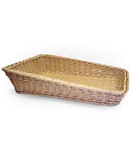 cesta sÍmil mimbre rectangular inclinada 45x30x4/10 cm natural pp (1 unid.)