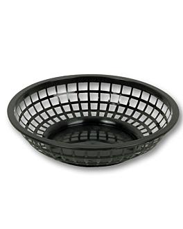 round baskets Ø 20x5 cm black pp (12 unit)