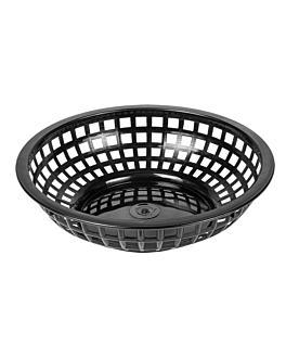 cestas redondas Ø 20x5 cm negro pp (12 unid.)