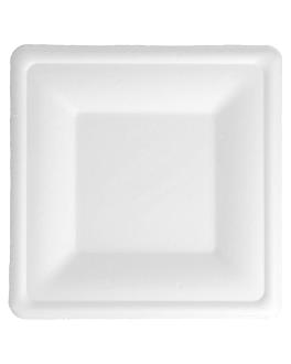 assiettes carrÉes 'bionic' 16x16x1,5 cm blanc bagasse (500 unitÉ)