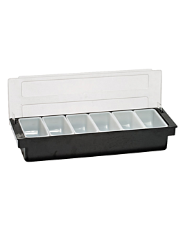 distributeur À condiments 6 compart. 49,5x15,7x9 cm noir ps (1 unitÉ)