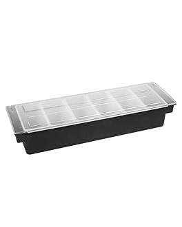 condiment container 6 compart. 49,5x15,7x9 cm black ps (1 unit)
