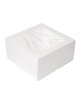 cake boxes with window 'thepack' 250 gsm + opp 24x24x12 cm white nano-micro corrugated cardboard (100 unit)