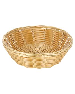 cestas sÍmil mimbre redondas Ø 18x5 cm natural pp (12 unid.)