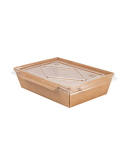 combo recipientes + tapas pet 700 ml 300 +20 pe g/m2 17x11,8x4,5 cm natural kraft (200 unid.)
