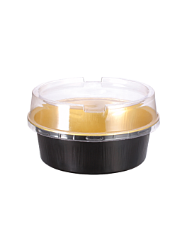 recipientes pastelerÍa 150 ml Ø9,3x3,3 cm oro/negro aluminio (100 unid.)