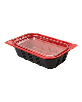 microwaveable containers individual meal 19,2x12,7x5 cm black pp (400 unit)