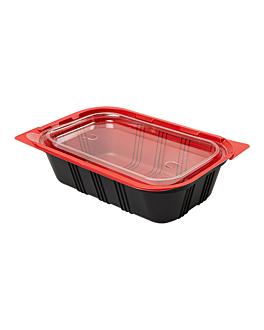 bandejas microondables comida individual 19,2x12,7x5 cm negro pp (400 unid.)