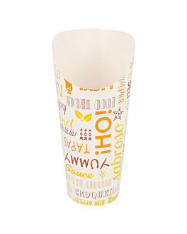 vasos fritas abiertos 'parole' 22 oz - 660 ml 220 + 18pe g/m2 Ø8,5x18 cm blanco cartoncillo (50 unid.)