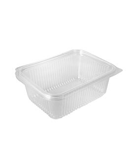 salad container with hinged lid 1 l 18,8x14,3x6,7 cm clear pla (400 unit)