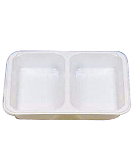 microwavable trays 2 compartments 22,5x17,5x4,5 cm white pp (500 unit)